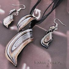 New Twisty Silver Foil Lampwork Glass Bead Pendant Necklace Earrings Jewelry Set