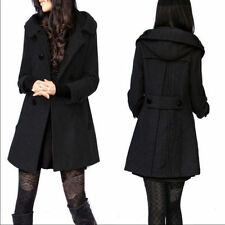 New Winter Women's Wool Double-Breasted Hooded Slim Trench Coat Long Overcoat