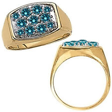 1 Carat Blue Diamond Design Cluster Mens Ring 14K White Yellow Two Tone Gold