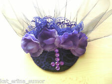 GOTHIC WEDDING,PURPLE FASCINATOR...Veil,Roses,Cross,Lolita,Victorian,Vintage