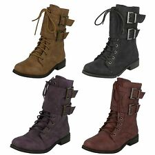Girls Spot On Low Heel Lace Up Boots with Buckle Straps