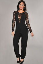 Ladies Women Plunge V Neck Lace Evening Party Jumpsuit Playsuit Party All In One