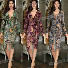 Womens Celebrity Leopard Slit Tunic Club Cocktail Party Midi Bodycon Dress 827