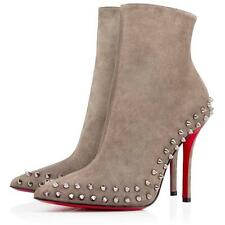 Christian Louboutin WILLETTA 100 Studded Spike Suede Heels Boot Shoes Grey $1595