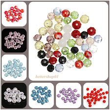 50/80pcs Round Clear Crystal Glass Loose Spacer Bead Jewelry Making Findings