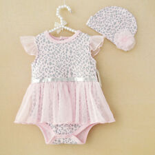 2pcs Girl infant Baby Newborn Cap Hat+Romper Bodysuit Tutu Clothes Set 0-9M Pink