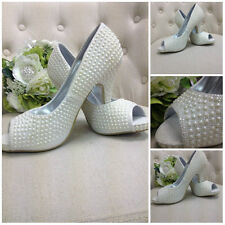 PEARL BRIDAL SHOES IVORY BRIDESMAID WEDDING BRIDE VINTAGE PEEP TOE GLITTER ELENA