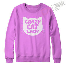 CRAZY CAT LADY FUNNY GIRLS WOMANS TUMBLR SWEATER S - XXL NEW FELINE JUMPER MEOW