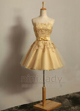 Gold Lace Short Mini Evening Gown Cocktail Party Prom Homecoming Dress Size 6-16