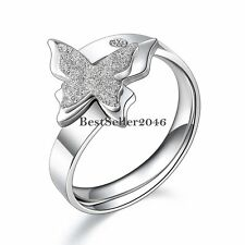 Ladies Silver Tone Stainless Steel Charm Butterfly Opening Size Adjustable Ring