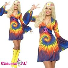 Ladies Tie Dye 60s 70s Hippy Costume womens 1960s 1970s Go Go Hippie Fancy Dress