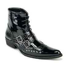Mens Cowboy Western punk Ankle Boots in Black buckle faux Leather Fashion shoes