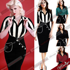 Womens Vintage Pinup Colorblock Cocktail Party Evening Bodycon Wiggle Dress 269