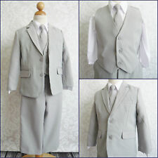 LTF LIGHT GREY/SILVER BOY WEDDING RING BEARER PARTY FORMAL DRESS SUIT ALL SIZES