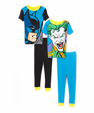NEW Boys Black Batman & Blue Joker 4PC Pajama Set Size 6 8 10