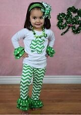 St. Patrick's Day Green Chevron Boutique Pant Outfit Set Girls 1,2,3,4,5,6,7