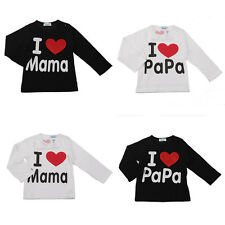Children Boy Girl Long T-shirt I Love Mom and Dad Top Tees For 1-4 Years
