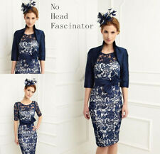 Dark Navy Short Lace Mother of the Bride Dress With Jacket Outfits Size 8+10--18