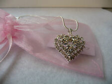 Diamante Heart shaped pendant on silver chain