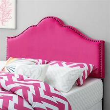 Full Queen Size Headboard with Nailheads Bed Furniture Upholstered Black NEW