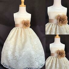 Flower Girl Bridesmaids Elegant Easter Ivory Lace Champagne Dress
