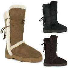LADIES WOMENS FUR LINED WINTER BOOTS FLAT WARM THICK SOLE TALL RUBBER SHOES