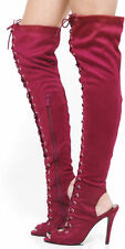 New Red Thigh High Lace Up Boots Peep Toe Stiletto Heel Womens Shoes Boots