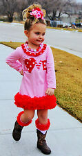 Valentine Polka Heart Girls Pink & Red Heart  Dress Outfit Size 1,2,3,4,5,6,7