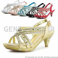 New Girls Rinestone Pageant Wedding Party Medium Heels 86K (9T 10T & Youth)