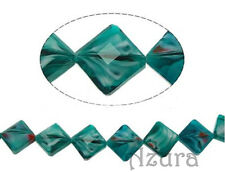 Millefiori Faceted Crystal Glass Square Diamond Beads 14mm, Teal Green