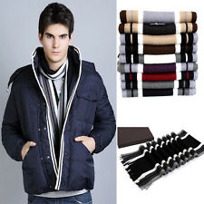 Men Winter Warm Classical Stripes Artificial Tassels Scarf Long Pashmina Shawl