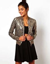 Love Moschino Sequin Embroidered Jersey Jacket Brown Gold Leopard Animal print
