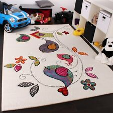Childrens Rug Carpet Bird and Flowers Design Soft Modern Cream Kids Bedroom Rug
