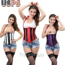 Hot Black White Mixed Striped Halter Lace Corset Underbust Top Bustier Plus Size