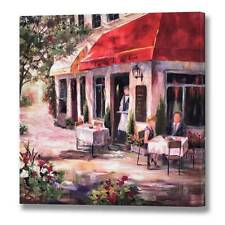 CANVAS PICTURE FRENCH CAFE WALL MOUNTED SCENE BICYCLE LES VIN'S ALFRESCO RED