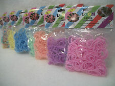 "Loom Bandz Solid Pastel Loom Bands 300 pc With 12 ""S"" Clips Rubber Band Crafts"