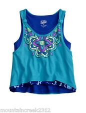 JUSTICE for Girls ~ Glitter Graphic Flowy Tank Top Tee ~ Blue ~ Size 12 ~ NEW
