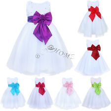 Kids Girl Bow Tulle Formal Dress Wedding Flower Pageant Party Bridesmaid Dresses