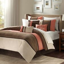 Brown Coral Bed Bag Luxury 7-Pc Comforter Set Cal King Queen Home Daybed Bedding