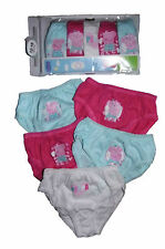 Peppa Pig 5 Pack Briefs Knickers Pants Ages 12-18m 18-24m 2-3y 3-4y Aqua/cerise