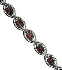 Rhodolite Garnet Gemstone Adjustable Oval Eternity Sterling Silver Bracelet