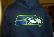New Seahawks Navy Full-Zip Up Hoodies with 5 Embroidered Logos
