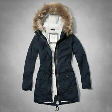 NWT Abercrombie&Fitch Womens Meg Sherpa Lined Parka Coat NAVY JACKET SIZE S M