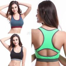 Women Fitness Yoga Stretch Workout Tank Top Bras Racerback Padded Sports Bra C24
