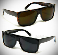 Men Sunglasses Classic Flat Top Retro Aviator OG Rectangular Dark Lens