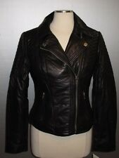 Nwt MICHAEL MICHAEL KORS Black Leather Asymmetrical Zigzag Quilted Moto Jacket