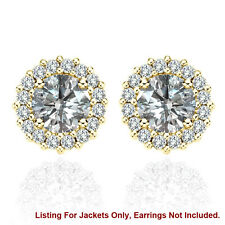 Halo Jackets for 3 Ct Total Weight 7MM G-H Diamond Stud Earrings 14K Yellow Gold
