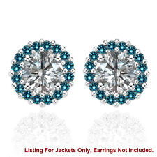 Halo Jackets for 2 Ct Total Weight 6MM Blue Diamond Stud Earrings 14K White Gold