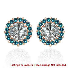 Halo Jackets for 2 Ct Total Weight 6MM Blue Diamond Stud Earrings 14K Rose Gold
