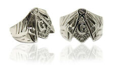 Mens Stainless Steel FreeMason  Masonic Ring In 14K White Gold Finish